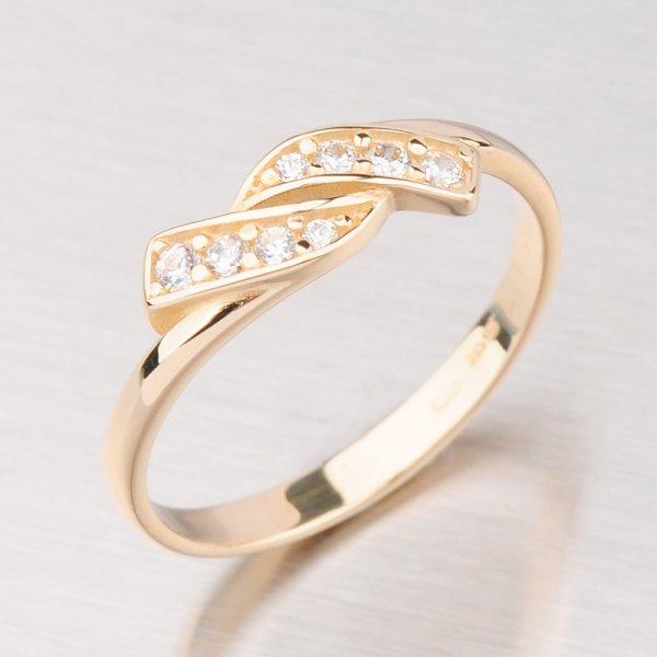 Prsten zlatý se zirkony GZ2337