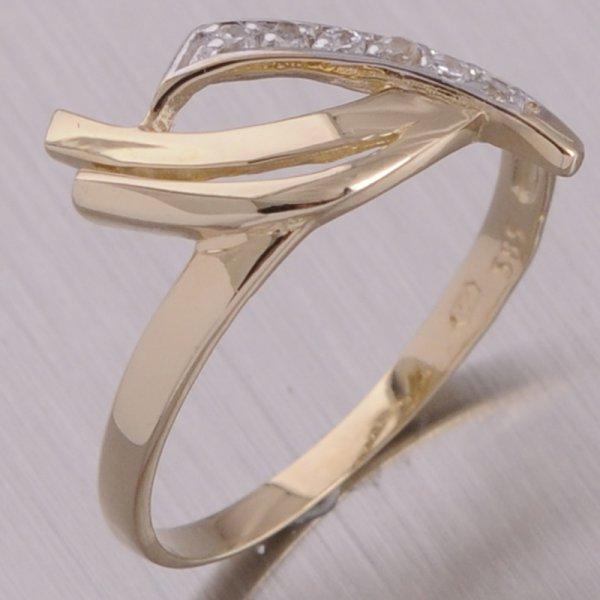 Zlatý prsten se zirkony 1-1001