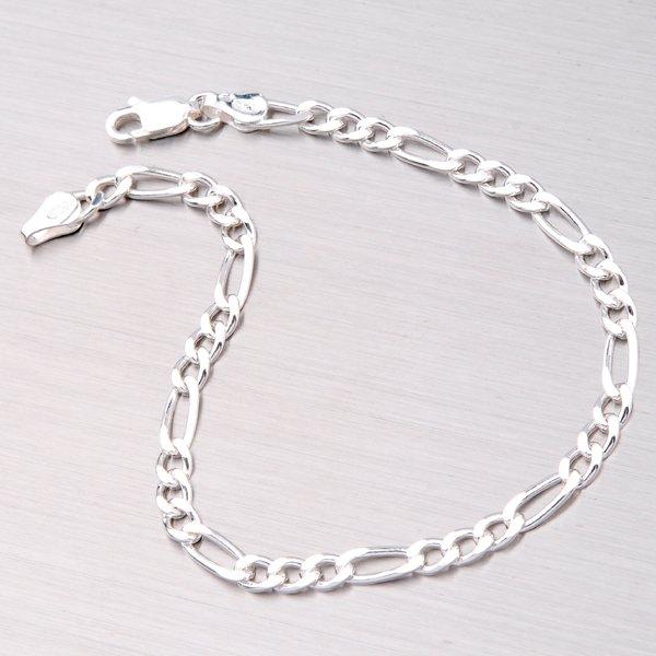 Náramek Figaro stříbrný GAD3+1-100