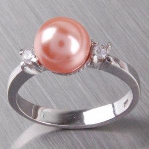 Stříbrný  prsten s perlou a zirkony 6T1207L