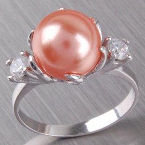 Stříbrný prsten s perlou a zirkony 6T1190L