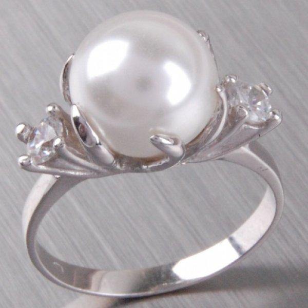 Stříbrný prsten s perlou a zirkony 6T1190B