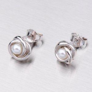 Náušnice rhodiované s perlou MOR7326