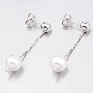 Stříbrné náušnice s perlou MORP3159