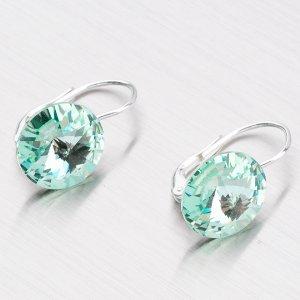 Stříbrné náušnice - zelený krystal  12 mm N312Z-JK