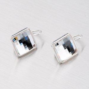 Stříbrné náušnice s bílými krystaly N366