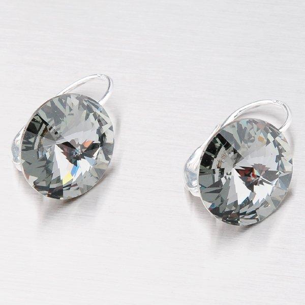 Stříbrné náušnice s krystalem 14 mm N335ČN-JK