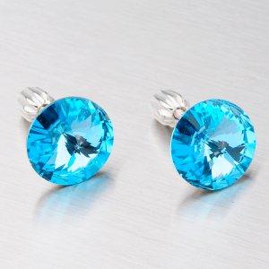 Stříbrné náušnice s modrým krystalem 10 mm N381SM