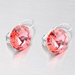 Náušnice s oranžovorůžovým krystalem 12 mm N312ORS-JK