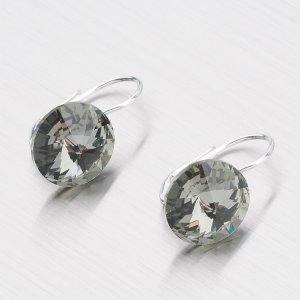 Stříbrné náušnice s krystaly  12 mm N312ČN-JK