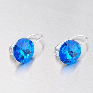 Náušnice s tmavě modrým krystalem 10 mm N325TM