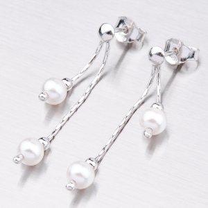 Náušnice s bílou perlou ORP8544C