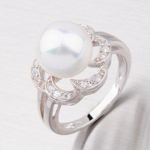 Stříbrný prsten s bílou perlou R3570