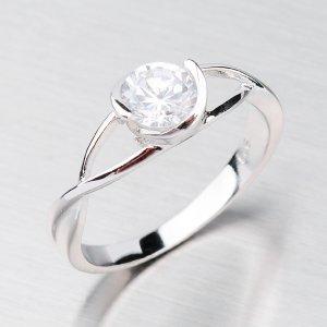 Rhodiovaný prsten se zirkonem ZR053